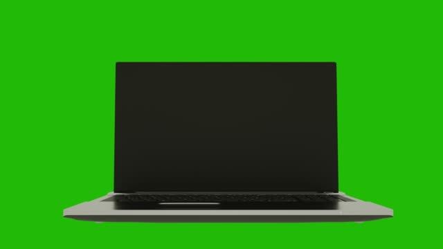 Highly detailed aluminum laptop notebook spinning over green screen