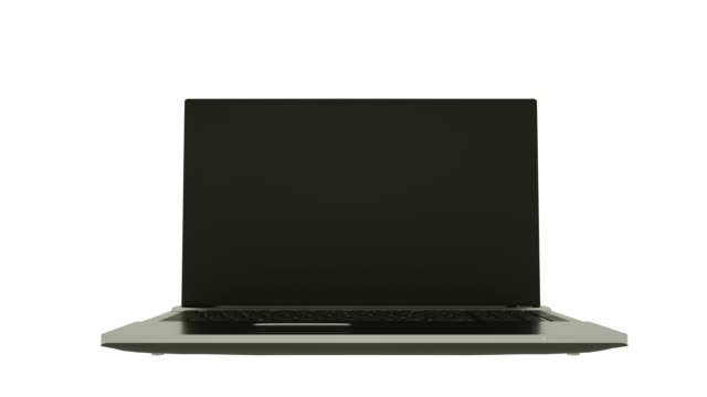 Highly detailed aluminum laptop notebook spinning over white background.