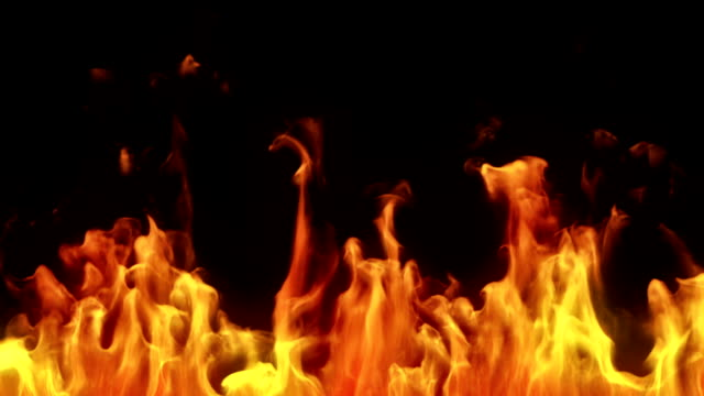 altamente dettaglio di fiamme. alpha opaco. macro. - bruciato video stock e b–roll