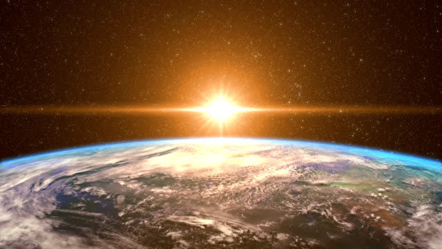 Highly Detailed Sunrise Over the Earth Highly Detailed Sunrise Over the Earth, beautiful 3d animation. 4K (See more options in my portfolio) dawn stock videos & royalty-free footage