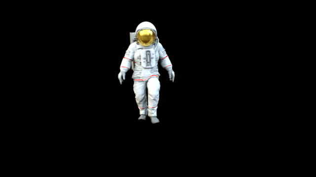 Highly realistic animation of an astronaut walking towards camera WITH ALPHA.