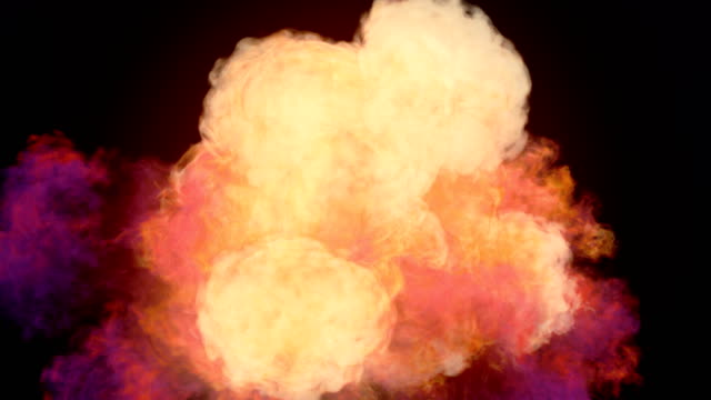 Highly realistic chemical cloud of colored smoke mixing on dark background and alpha matte to compose. 3d rendering. 4K, Ultra HD resolution. Slow motion highly realistic chemical cloud of colored smoke and alpha matte to compose over a dark background. 3d rendering. 4K, Ultra HD resolution. pyrotechnic effects stock videos & royalty-free footage