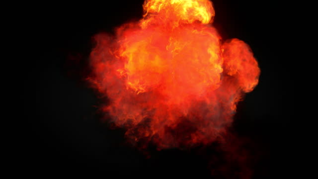 Highly realistic fire explosions with smoke and alpha matte to compose. 3d rendering. 4K, Ultra HD resolution. Slow motion highly realistic fire explosions with smoke and alpha matte to compose over a dark background, top view. 3d rendering. 4K, Ultra HD resolution. pyrotechnic effects stock videos & royalty-free footage