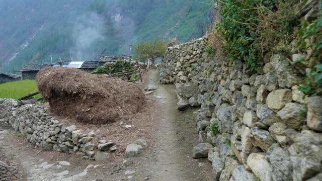 高山村ネパール prok。マナスル トレッキング面積。 - ネパール人点の映像素材/bロール