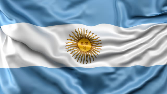 a high-quality footage of 3d argentina flag fabric surface background animation - bandiera dell'argentina video stock e b–roll
