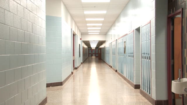 Highschool hallway. Slow zoom. video