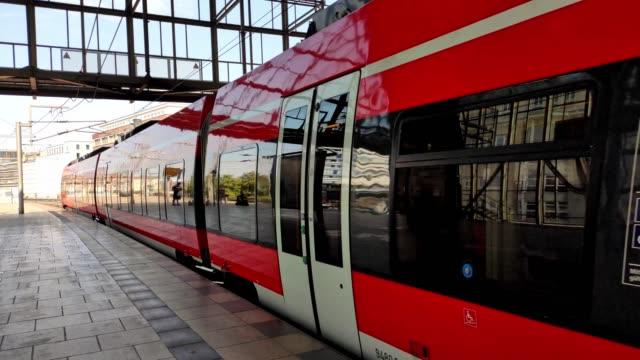 High-speed train in Berlin. Departing train.