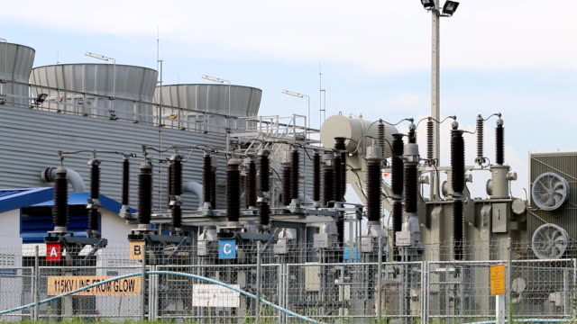 High-voltage electrical power supply substation yard video