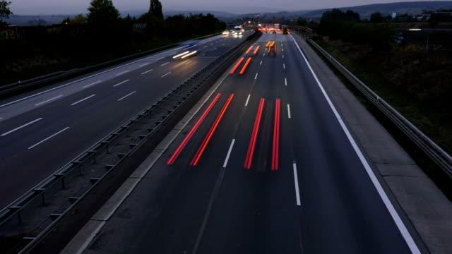 Highway at dusk - timelapse video