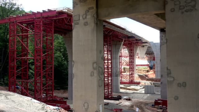 Highway bridge, ferroconcrete, concrete, highway road works, Autobahn, A 3 Spessart video