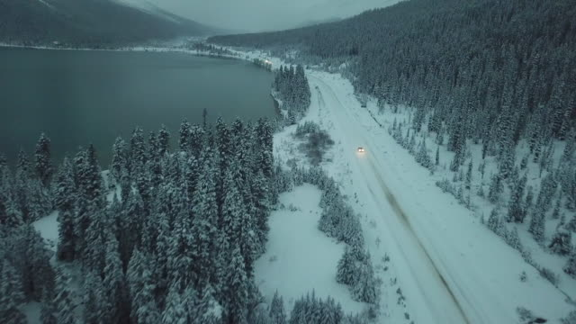 Video Highway driving along snow field