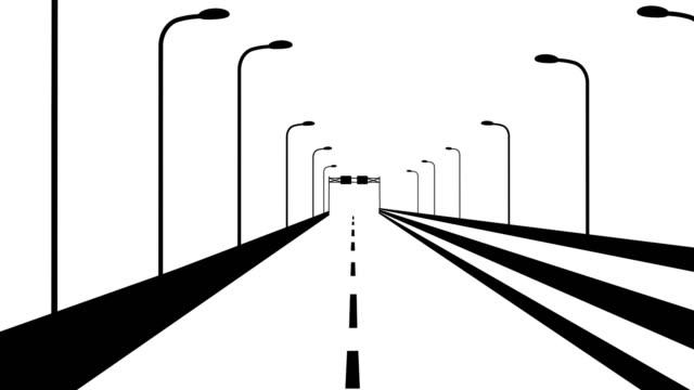 autobahn-fahranimation - drive illustration stock-videos und b-roll-filmmaterial