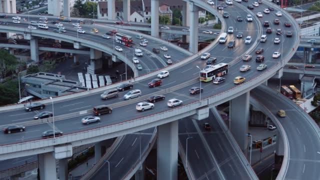 中国・上海のハイウェイインターチェンジ ビデオ
