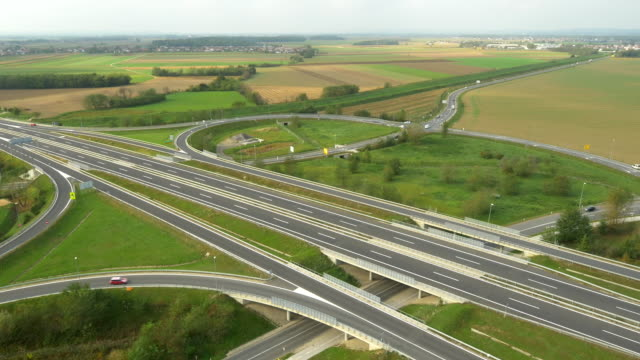 AERIAL Highway Intersections In The Countryside video