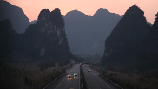 Highway is in the sunset,guilin,china
