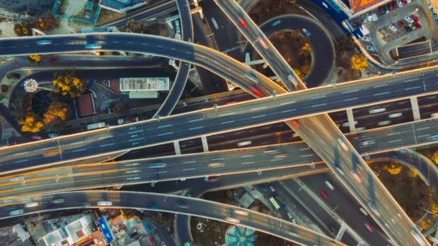 Highway junction aerial view. Highway junction aerial view. traffic time lapse stock videos & royalty-free footage