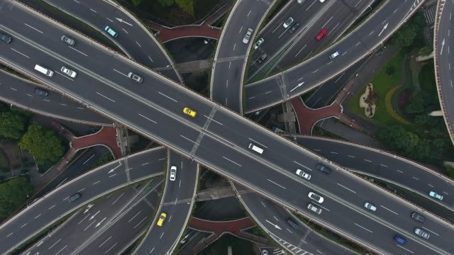 Highway junction aerial view - video