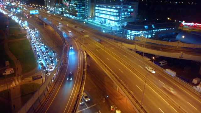 Highway junction from aerial view video