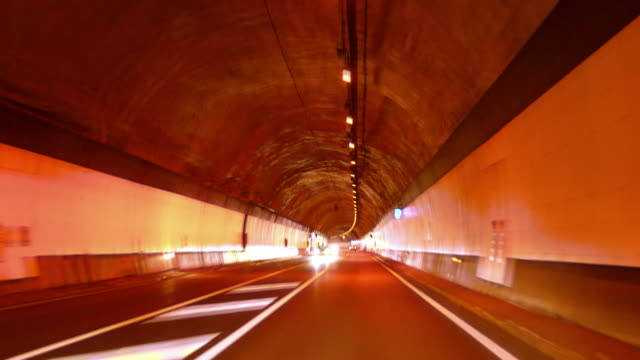 Highway Red Tunnel Rage Camera Car at High Speed 4k video