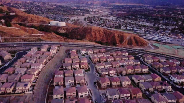 Highway Through Suburbia - Aerial View video