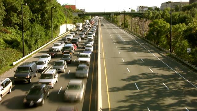 Highway Timelapse. Heavy vs. light traffic. video