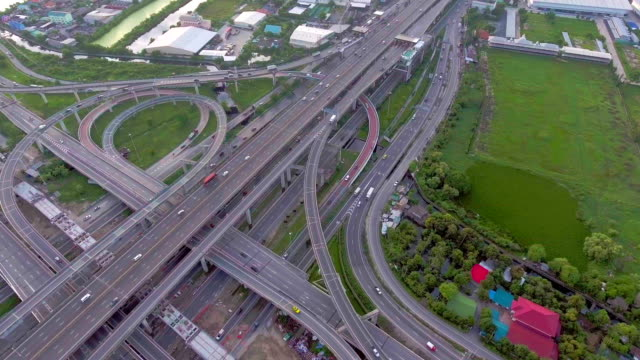 Highway traffic in Bangkok, Thailand, Aerial view video