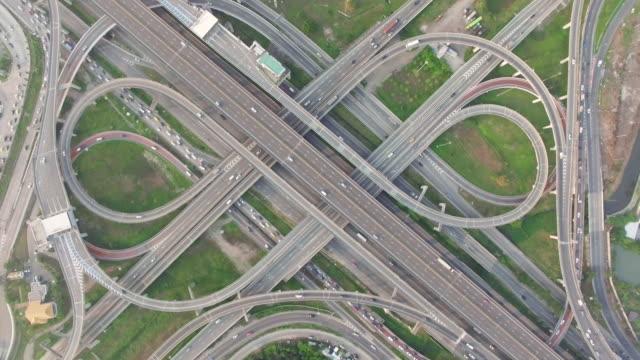Highway traffic in Bangkok Thailand,aerial view video