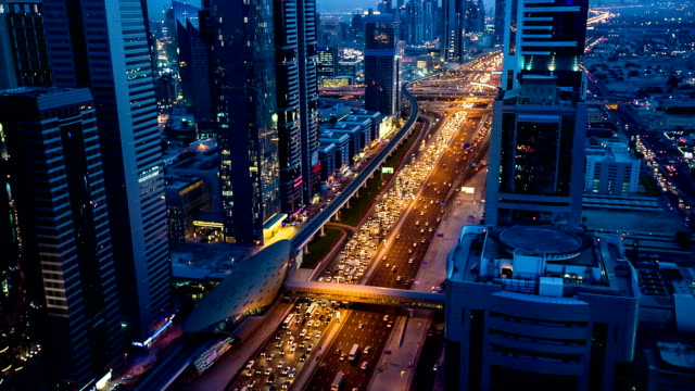 HD: Highway traffic in Dubai at dusk video