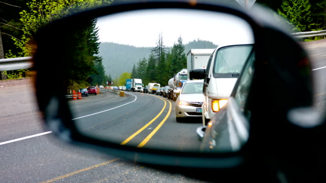 Highway Traffic looking through the mirror video