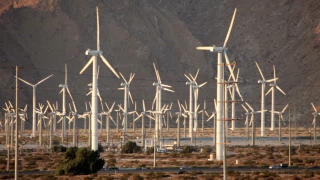 Highway traffic San Gorgonio Pass Wind farm Palm Springs California video