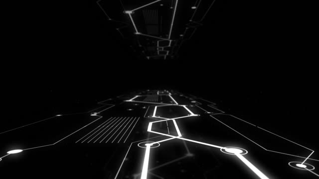 Highway tunnel in illuminating network design in black and white style.