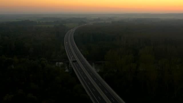 AERIAL Highway Viaduct At Dusk video