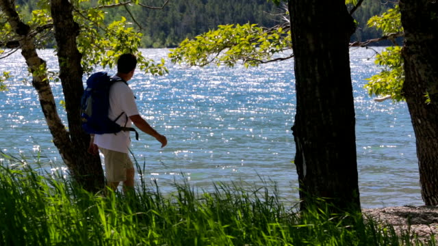 Hiker Enjoys Beautiful Lake View video