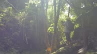 istock Hiker is exploring ecological integrity in the upstream forest. Asian female tourist wearing straw hat and backpack is taking picture with mobile phone in tropical rain forest under sunlight in the morning. 1256644960