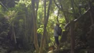 istock Hiker is exploring ecological integrity in the upstream forest. Asian female tourist wearing straw hat and backpack is taking picture with mobile phone in tropical rain forest under sunlight in the morning. 1256645032