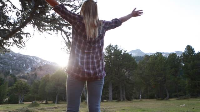 hiker outstretches arms at sunrise outside tent - djurarm bildbanksvideor och videomaterial från bakom kulisserna