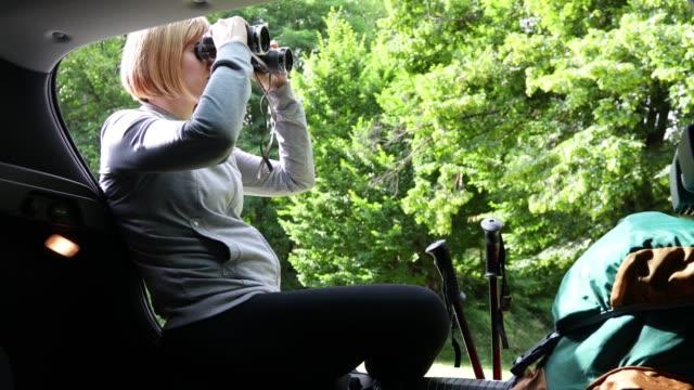 stockvideo's en b-roll-footage met wandelaar die op autoboomstam zit en verrekijker gebruikt - sportartikelen