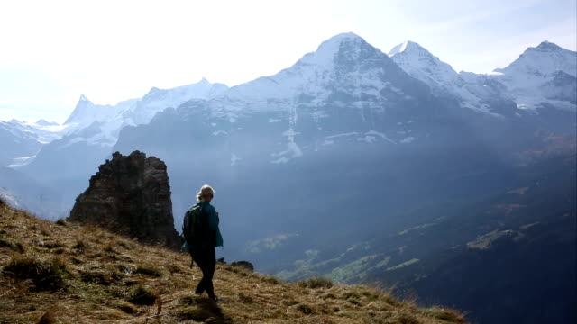 Hiker traverses mountain meadow above distant peaks video