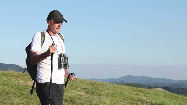 Hiker using trekking poles when hiking