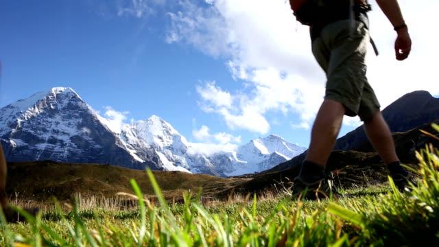 Hikers walk through meadow below Eiger, North Face video