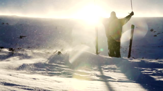 Hiking Man Raising Hands Beautiful Winter Mountain Sun video