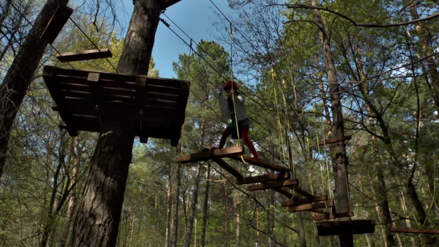 Сhild overcomes an obstacle in the ropes course video