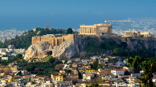 Hill of Arkopolis on which ancient temples from pure marble in the center of the Greek capital, time lapse. video