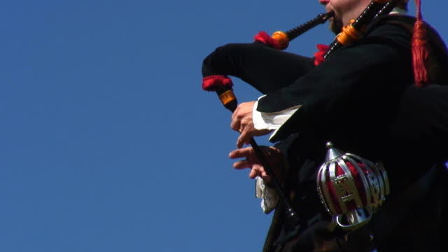 Hill Piper 10 Close up of bagpiper's hands while playing. plaid stock videos & royalty-free footage
