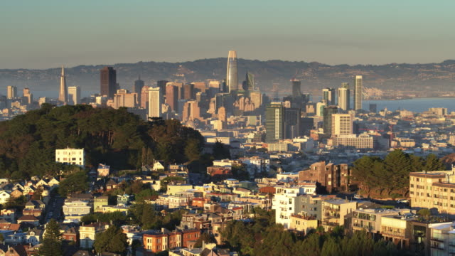 Hilltop Neighborhood of San Francisco with Skyline - Aerial View video