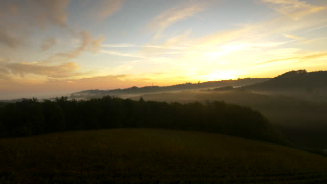 AERIAL Hilly Countryside At Dawn video