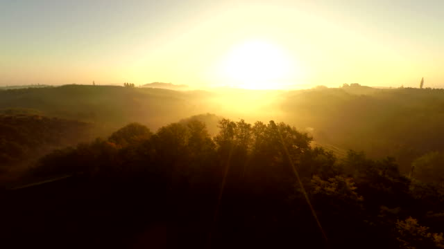 AERIAL Hilly Countryside In The Sunset video