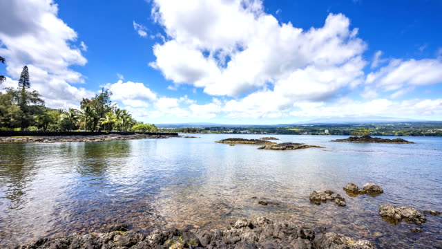 Hilo Bay Hawaii Time Lapse Time lapse of Hilo Bay shows the white clouds move across the blue sky big island hawaii islands stock videos & royalty-free footage