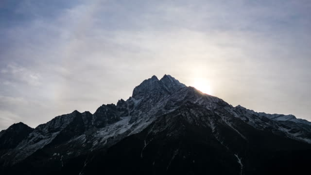 Himalayan mountain range in Nepal.Thamserku mountain.Time lapse. video