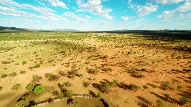 HELI Himba Settlement With Surrounding Landscape HD1080p: AERIAL HELI shot of the Himba village with a surrounding landscape. Northern Namibia, Namibia. Africa. minority groups stock videos & royalty-free footage